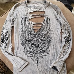 Affliction reversible shirt
